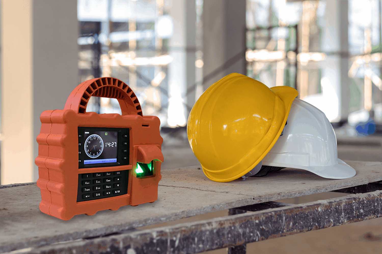 S922 portable fingerprint scanner at a construction site