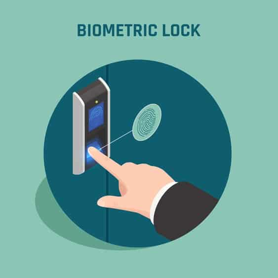graphic of man scanning a lockwith his finger