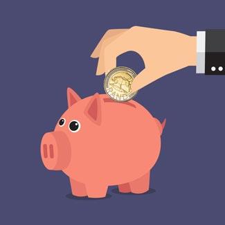 business man putting 5 Rand into piggy bank