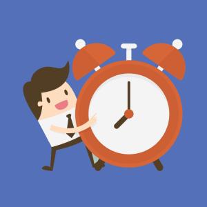 Cartoon man holding a time clock